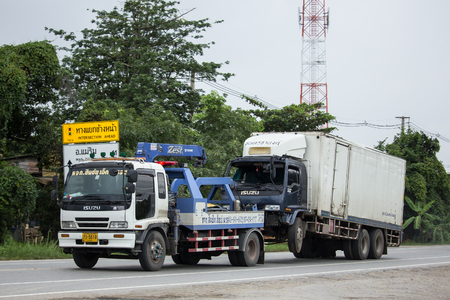 Chiangmai, Thailand - August  6 2018:  Nam Jaruen Tow truck for emergency car move. Photo at road no 121 about 8 km from downtown Chiangmai, thailand. Redakční