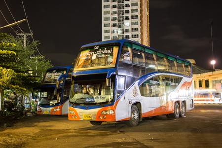 Chiangmai, Thailand - September 4 2018: Scania  bus of Transport government company.  Bus  route Bangkok and Chiangmai.  Photo at Chiangmai bus station.