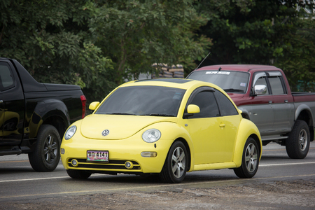 Chiangmai, Thailand - August  6 2018: Private Car, Volkswagen beetle. On road no.1001, 8 km from Chiangmai Business Area.