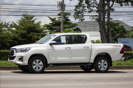 Chiangmai, Thailand - September 11 2018:  Private Pickup Truck Car New Toyota Hilux Revo  Rocco. On road no.1001, 8 km from Chiangmai city.