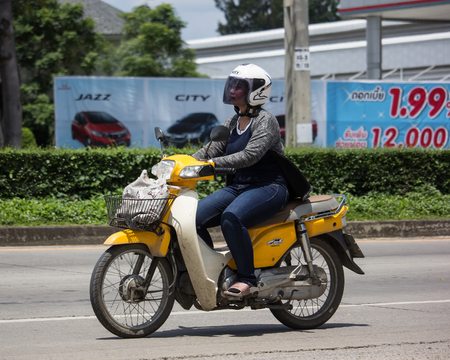 Chiangmai, Thailand - September 11 2018: Private Honda Super Cub Motorcycle. On road no.1001, 8 km from Chiangmai Business Area.