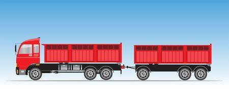 Side View of Red Trailer Dump Truck Vector Vector Illustration