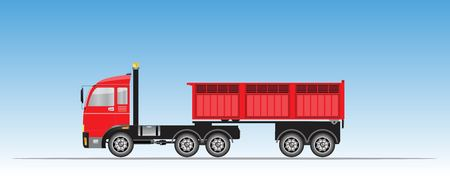 Side View of Red Trailer Dump Truck Vector