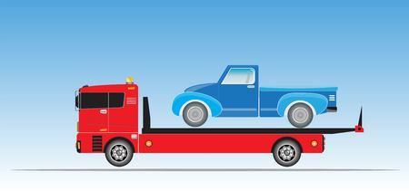 Schieben Sie auf Abschleppwagen für Notfallwagen bewegen Vektor