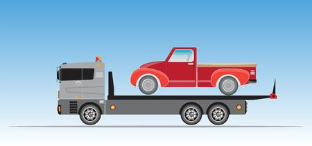 Slide on tow truck for emergency car move vector Stock Vector - 109983429