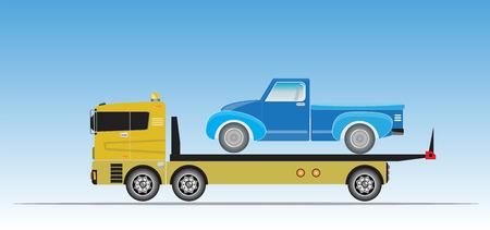 Slide on tow truck for emergency car move vector