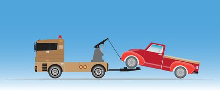 Tow truck for emergency car move vector