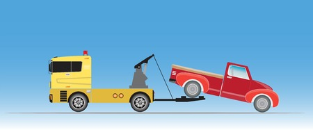 Tow truck for emergency car move vector Vettoriali
