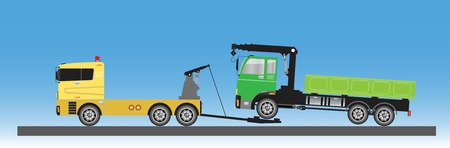 Tow truck for emergency car move vector Illustration