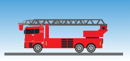 Fire Truck on blue sky background vector