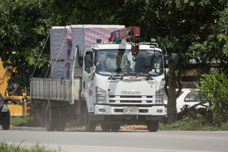 Chiangmai, Thailand - August  7 2018: Private  Isuzu  Cargo Truck. Photo at road no.1001 about 8 km from downtown Chiangmai, thailand.