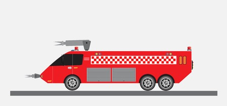 Airport Fire Truck Vector and Illustration