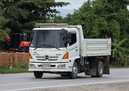 Chiangmai, Thailand - August 7 2018: Private Hino Dump Truck. On road no.1001 8 km from Chiangmai Business Area.