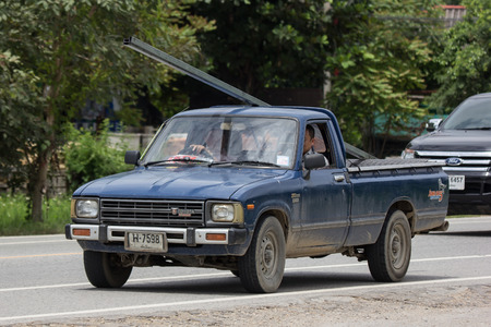Chiangmai, Thailand - September 1 2018: Private old Pickup car, Toyota Hilux Mighty X. On road no.1001, 8 km from Chiangmai city. Editorial