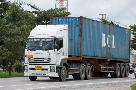 Chiangmai, Thailand - September 1 2018: Private  Isuzu  Cargo Truck. Photo at road no.1001 about 8 km from downtown Chiangmai, thailand. Editorial