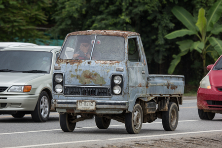 Chiangmai, Thailand - September 4 2018: Private Old Mini Truck of Daihatsu Hijet. On road no.1001 8 km from Chiangmai city.