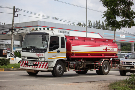 Chiangmai, Thailand - September 6 2018:  Private Oil Tank Truck. On Truck on road no.1001, 8 km from Chiangmai city. Editöryel