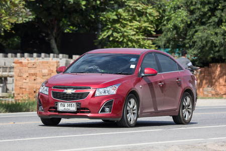 Chiangmai, Thailand - September 7 2018: Private car, Chevrolet Cruze. On road no.1001, 8 km from Chiangmai city.