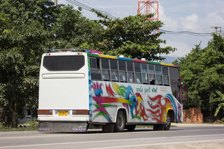 Chiangmai, Thailand - September 7 2018: Private Travel Bus. Photo at road in downtown of Chiangmai, thailand.