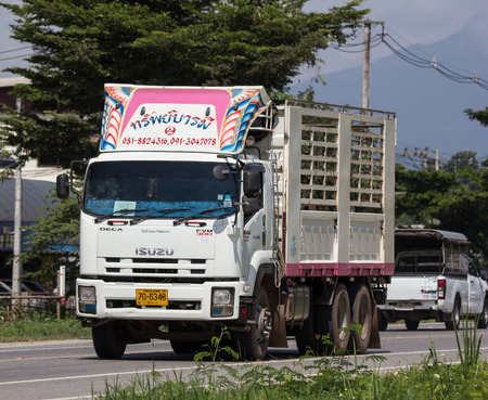 Chiangmai, Thailand - September 7 2018: Private  Isuzu  Cargo Truck. Photo at road no.1001 about 8 km from downtown Chiangmai, thailand.