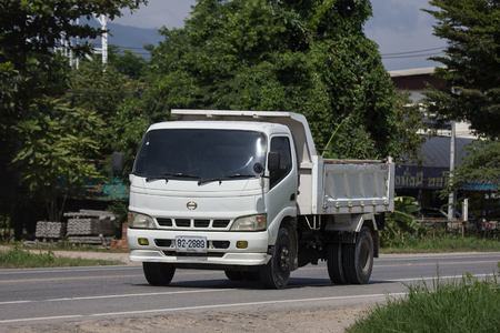 Chiangmai, Thailand - September 7 2018: Private Hino Dump Truck. On road no.1001 8 km from Chiangmai Business Area. Sajtókép
