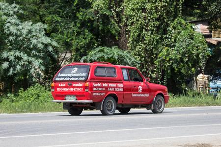 Chiangmai, Thailand - September 7 2018: Ambulance Pickup Truck for Animal of Chiangmai Maerim Hospital. On road no.1001, 8 km from Chiangmai city.