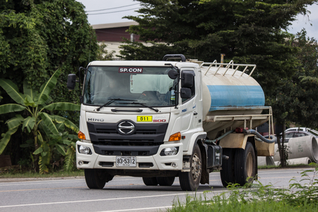 Chiangmai, Thailand - September 10 2018: Private Oil Tank  Truck. Photo at road no.1001 about 8 km from city center, thailand.