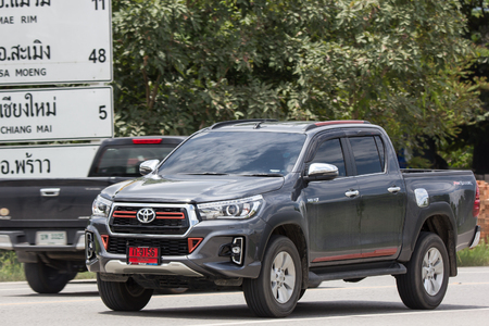 Chiangmai, Thailand - September 10 2018:  Private Pickup Truck Car New Toyota Hilux Revo  Rocco. On road no.1001, 8 km from Chiangmai city.