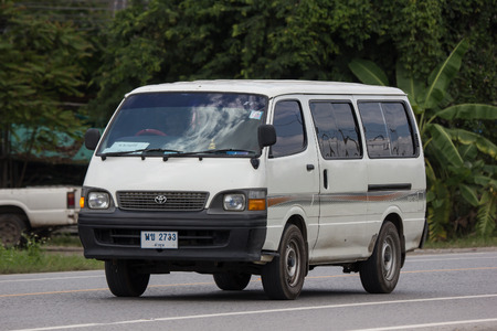 Chiangmai, Thailand - September 10 2018:  Private Toyota Hiace old Van Car. On road no.1001, 8 km from Chiangmai city.