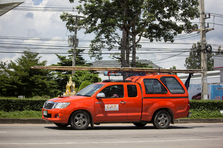 Chiangmai, Thailand - September 20 2018:  Pickup truck of CAT Telecom Public Company Limited. Intenet and Telephone Service in Thailand. Photo at road no 121 about 8 km from downtown Chiangmai, thailand. Editorial
