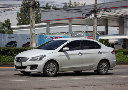 Chiangmai, Thailand - September 20 2018: Private Eco car, Suzuki Ciaz. Photo at road no 121 about 8 km from downtown Chiangmai, thailand.
