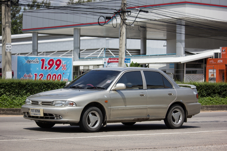 Chiangmai, Thailand - September 20 2018: Private car, Mitsubishi Lancer. Photo at road no 121 about 8 km from downtown Chiangmai, thailand.
