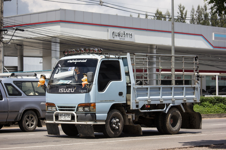 Chiangmai, Thailand - September 20 2018: Private  Isuzu  Cargo Truck. Photo at road no.1001 about 8 km from downtown Chiangmai, thailand.