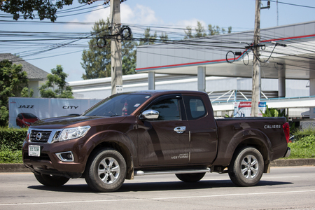 Chiangmai, Thailand - September 21 2018: Private Pickup car, Nissan Navara. On road no.1001, 8 km from Chiangmai Business Area. 新聞圖片