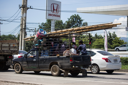 Chiangmai, Thailand - September 21 2018: Private Isuzu TFR Pickup Truck. On road no.1001 8 km from Chiangmai city.