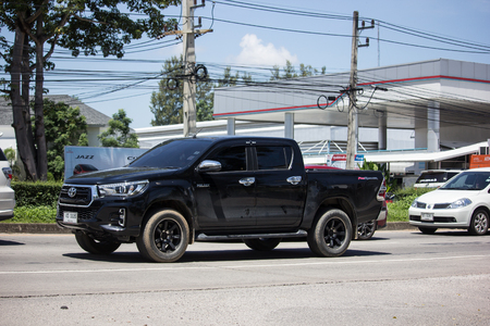 Chiangmai, Thailand - September 21 2018: Private Pickup Truck Car New Toyota Hilux Revo  Rocco. On road no.1001, 8 km from Chiangmai city.