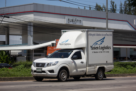 Chiangmai, Thailand - September 21 2018: Yusen logistic Container Pickup truck.   Photo at road no 121 about 8 km from downtown Chiangmai, thailand.