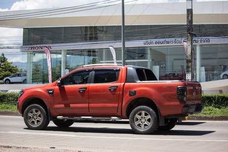 Chiangmai, Thailand - September 21 2018: Private Pickup car, Ford Ranger. On road no.1001, 8 km from Chiangmai city.