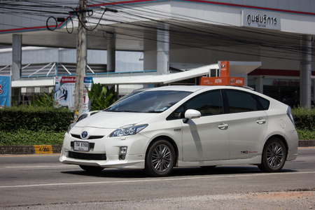 Chiangmai, Thailand - September 24 2018: Private car Toyota Prius Hybrid System. On road no.1001 8 km from Chiangmai Business Area.