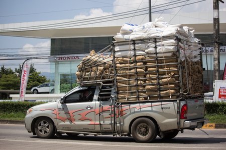 Chiangmai, Thailand - September 24 2018: Private Toyota Hilux Vigo  Pickup Truck.  On road no.1001 8 km from Chiangmai city.