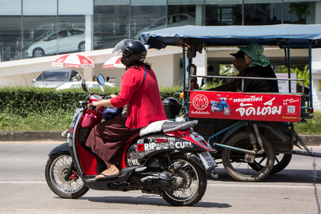Chiangmai, Thailand - September 25 2018: Private Honda Automatic Scooter Scoopy i Motorcycle. On road no.1001, 8 km from Chiangmai Business Area. Editorial