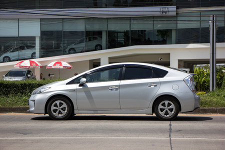 Chiangmai, Thailand - September 25 2018: Private car Toyota Prius Hybrid System. On road no.1001 8 km from Chiangmai Business Area.