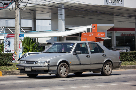 Chiangmai, Thailand - September 27 2018: Private Old Car, Saab 9000 CD Compact luxury automobile. Photo On Road 1001 to Chiangmai City.