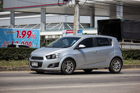 Chiangmai, Thailand - September 27 2018: Private car, Chevrolet sonic. Photo at road no.121 about 8 km from downtown Chiangmai, thailand.