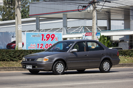 Chiangmai, Thailand - September 28 2018: Private Old car, Toyota Corolla. Photo at road no 121 about 8 km from downtown Chiangmai, thailand. Editorial