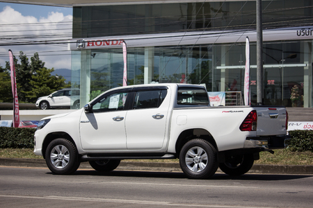 Chiangmai, Thailand - September 28 2018: Private Pickup Truck Car New Toyota Hilux Revo  Rocco. On road no.1001, 8 km from Chiangmai city.