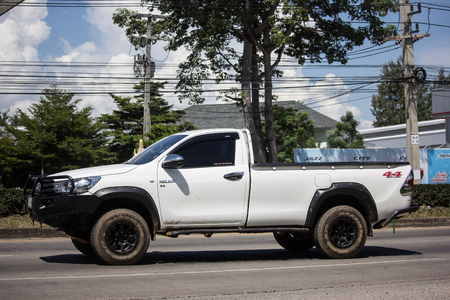 Chiangmai, Thailand - September 28 2018: Private Pickup Truck Car  Toyota Hilux Revo. On road no.1001, 8 km from Chiangmai city. Editorial