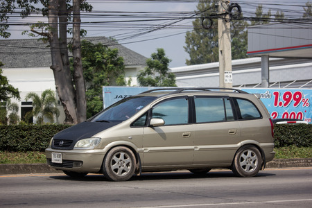 Chiangmai, Thailand - October 8 2018: Private SUV car, Chevrolet Zafira. Photo at road no.121 about 8 km from downtown Chiangmai, thailand.