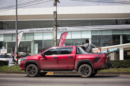 Chiangmai, Thailand - October 8 2018: Private Pickup Truck Car New Toyota Hilux Revo  Rocco. On road no.1001, 8 km from Chiangmai city.