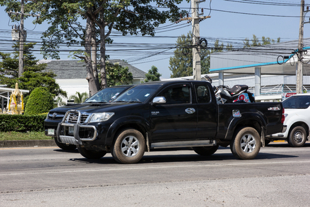 Chiangmai, Thailand - November 5 2018: Private Toyota Hilux Vigo  Pickup Truck.  On road no.1001 8 km from Chiangmai city.